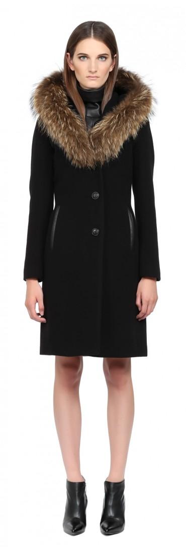 Mackage Andie Black Long Wool Coat With Fur Hood in Black | Lyst