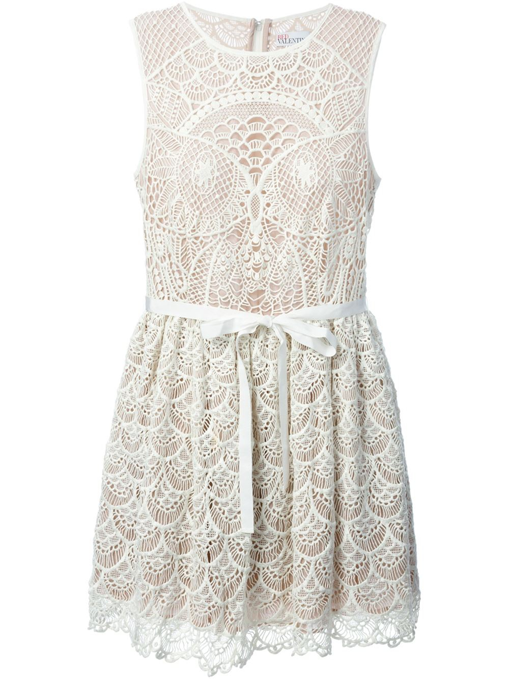 Red valentino cut out embroidered flared dress in white lyst