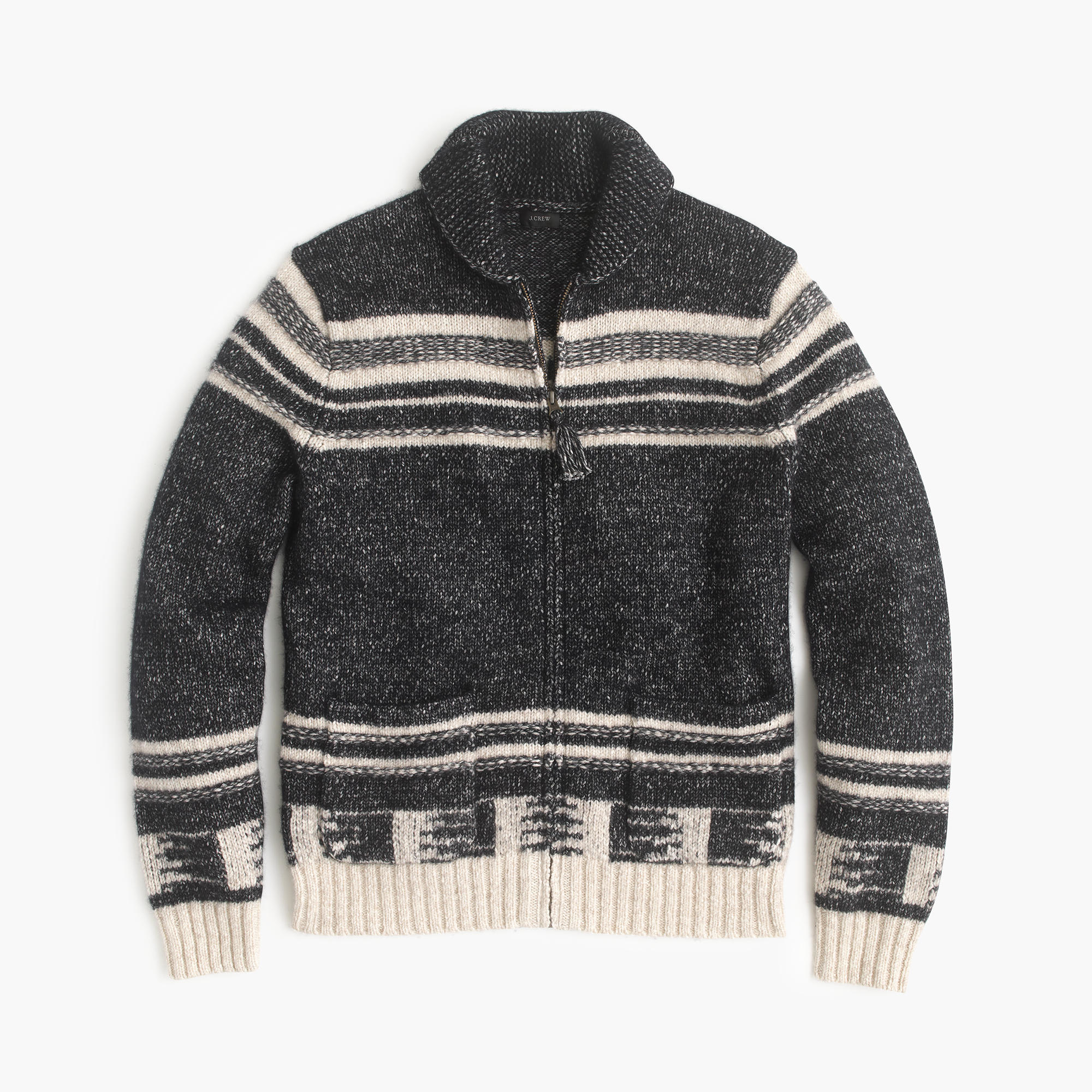 J.crew Cotton-merino Wool Shawl-collar Zip-up Cardigan Sweater in ...