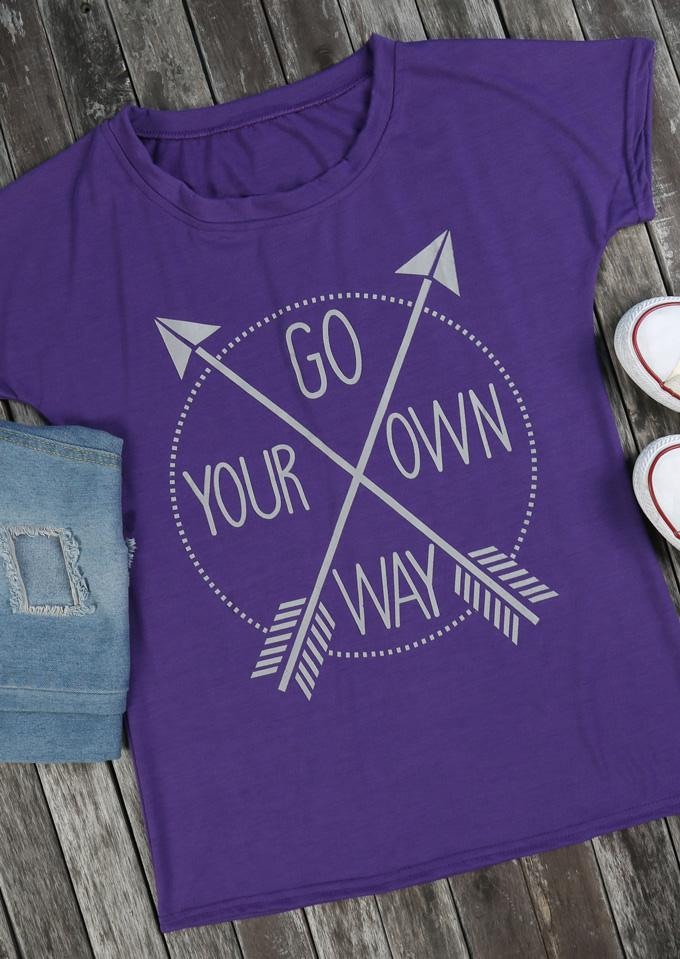 f2be7b4eb Belle lily Go Your Own Way Arrow T-shirt in Purple | Lyst