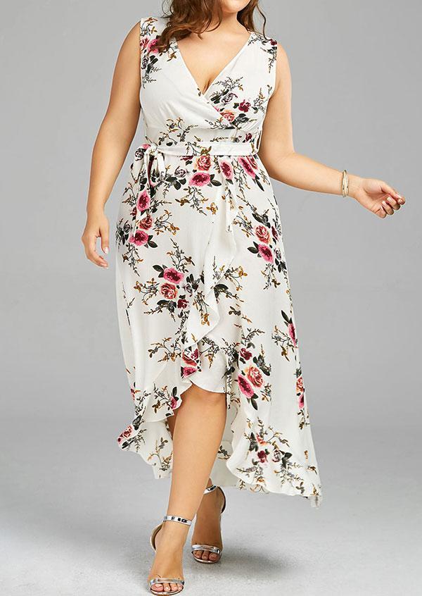 2c044911317 Belle Lily. Women s White Plus Size Floral Wrap Asymmetric Casual Dress