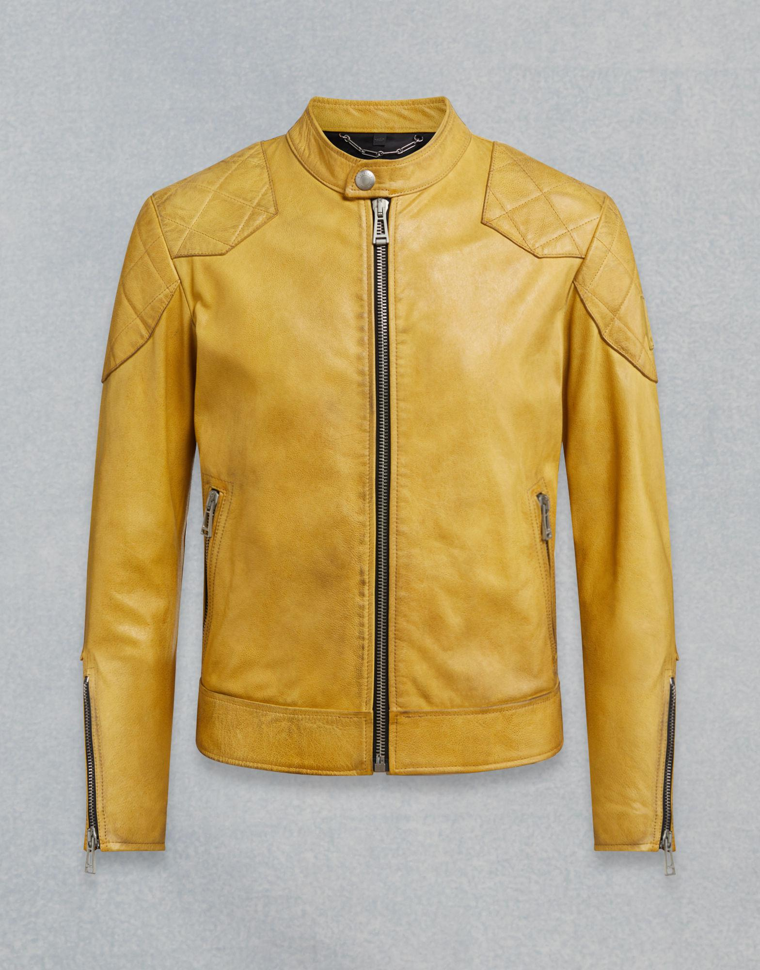 243b32f2efa7 Lyst - Belstaff Outlaw Leather Jacket in Yellow for Men