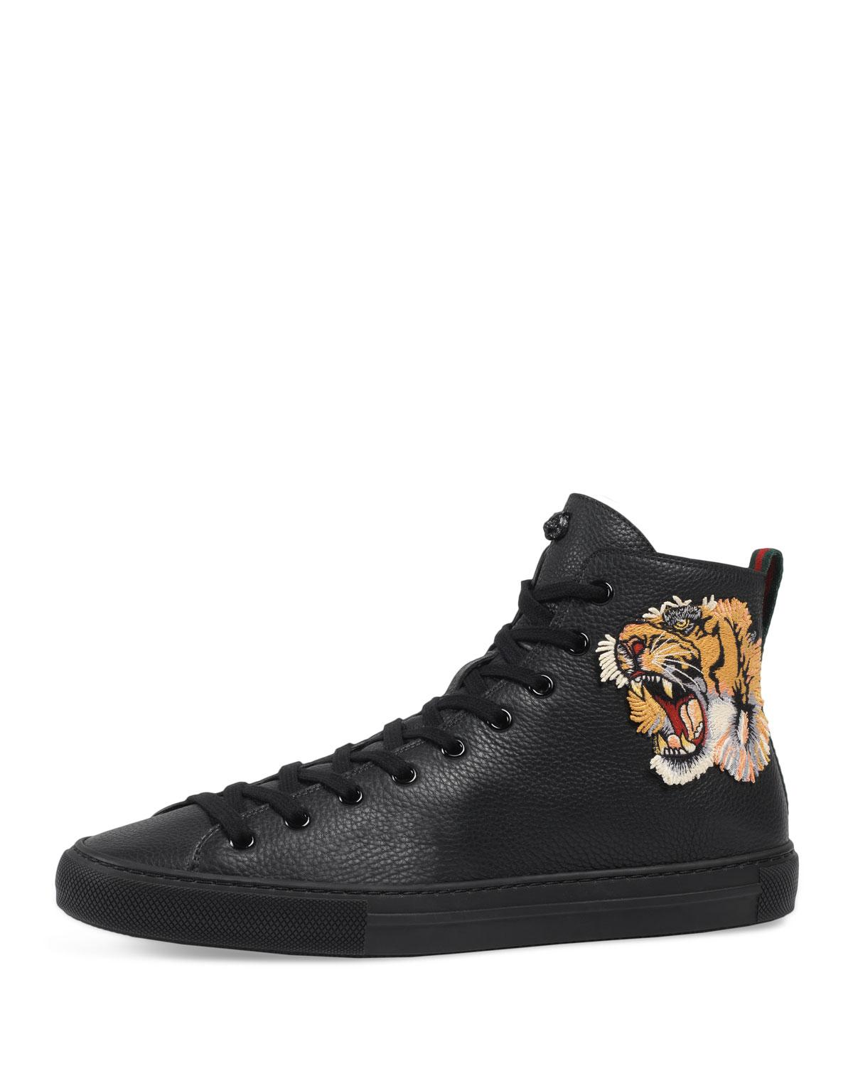 373638193f2e Lyst - Gucci Men s Major High-top Sneakers W tiger Patch in Black ...