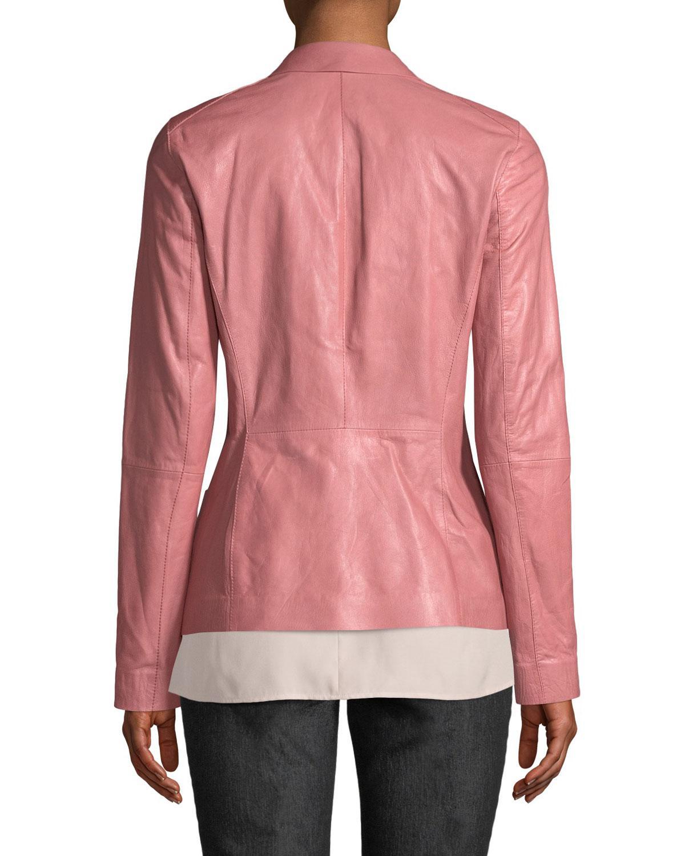 10612d58412b1 Lyst - Lafayette 148 New York Nikala Glazed Lambskin Jacket in Pink