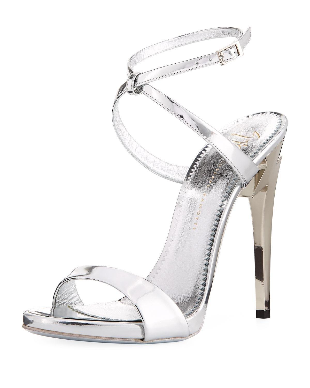 b35c9999c08 Lyst - Giuseppe Zanotti Bolt-heel Metallic Leather Ankle-wrap Sandal ...