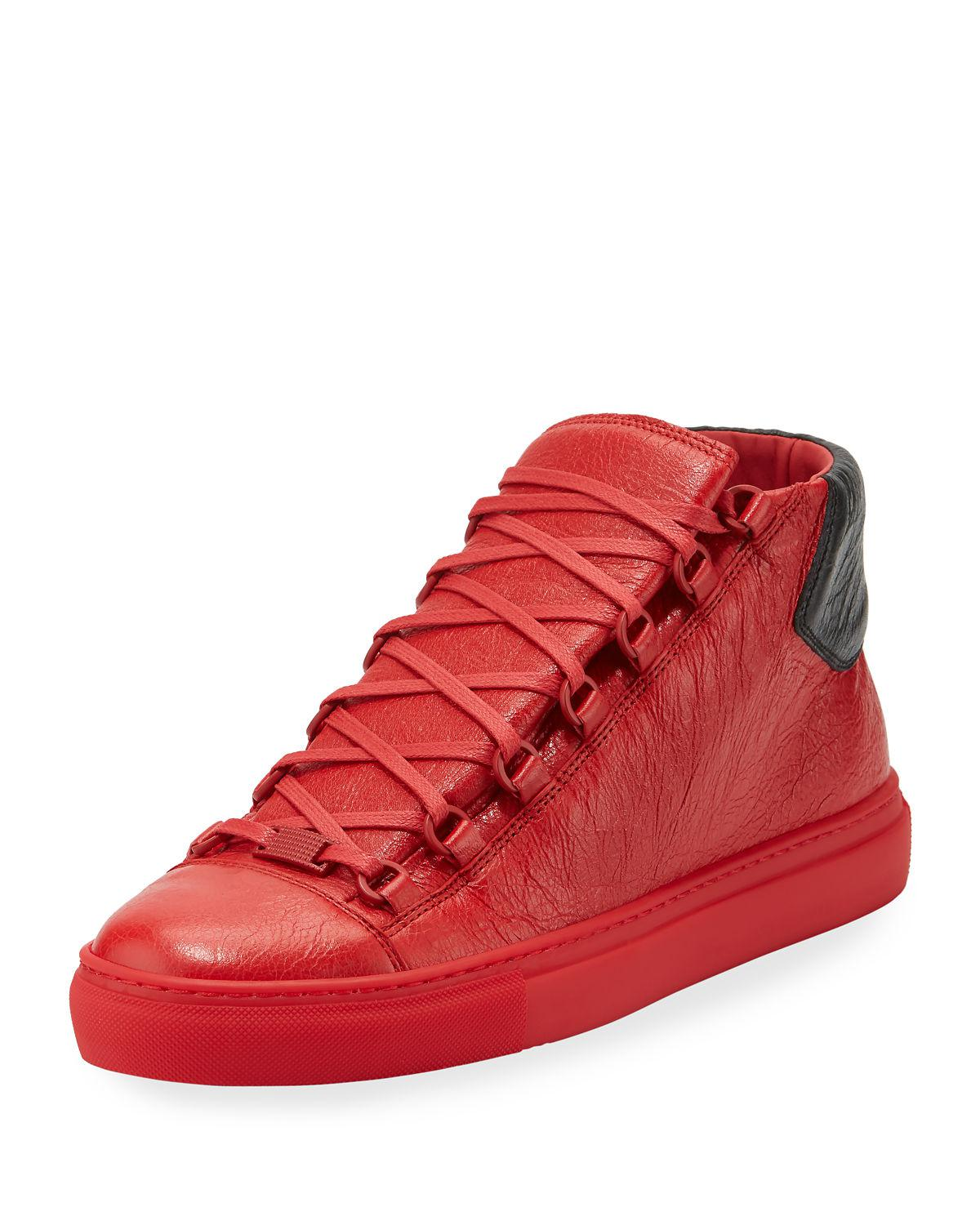 3cc8ec1a01f61 Balenciaga Men's Arena Leather Mid-top Sneaker in Red for Men - Lyst