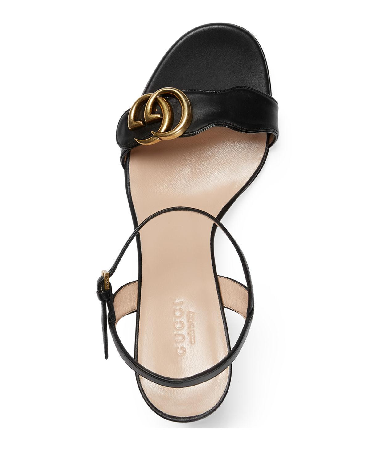 f7e5c991dc9 ... Marmont Leather GG Block-heel Sandals - Lyst. View fullscreen