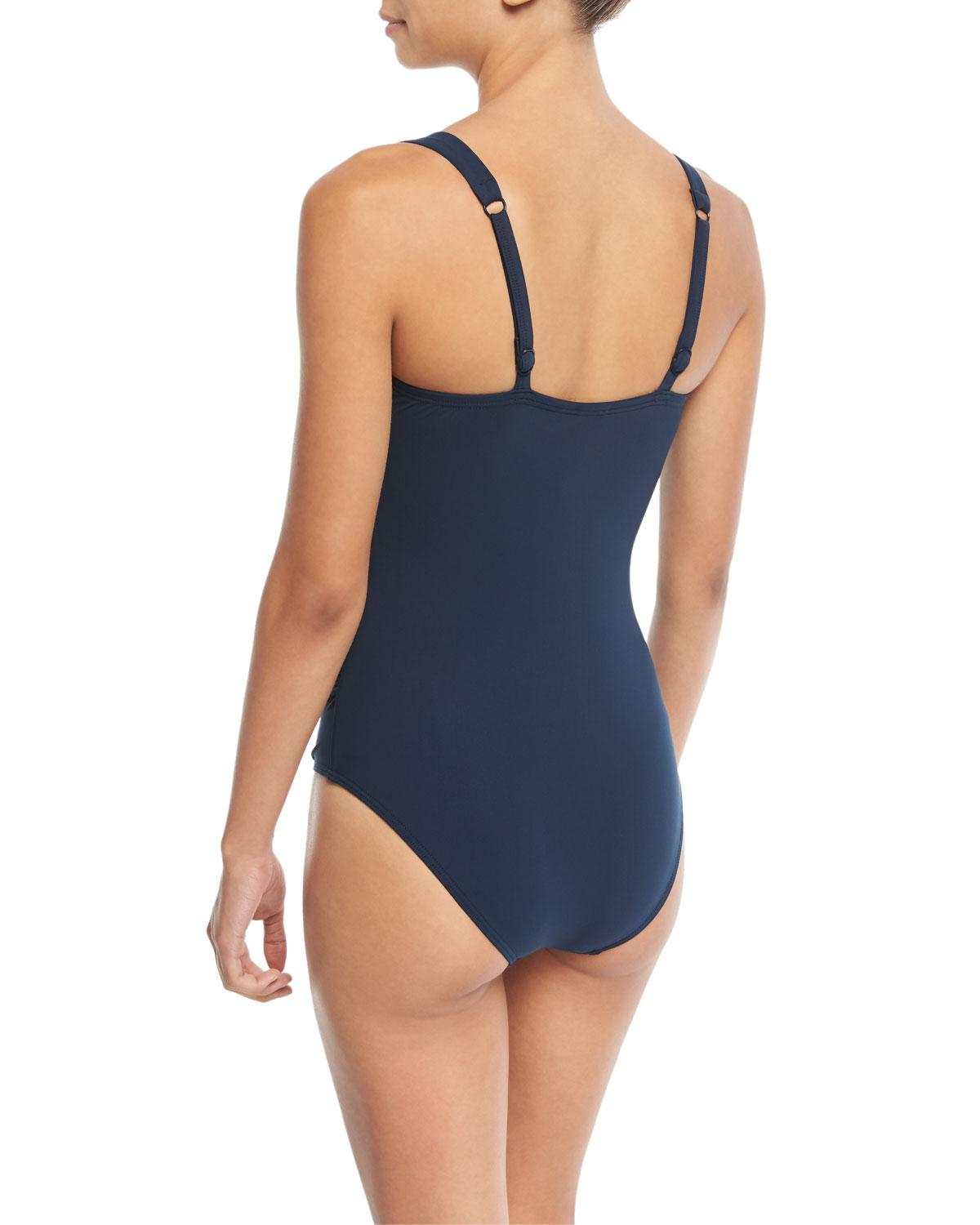 fa5be99435201 Lyst - Jets by Jessika Allen Deep-v Cross-front One-piece Swimsuit (d dd  Cup) in Blue - Save 65%