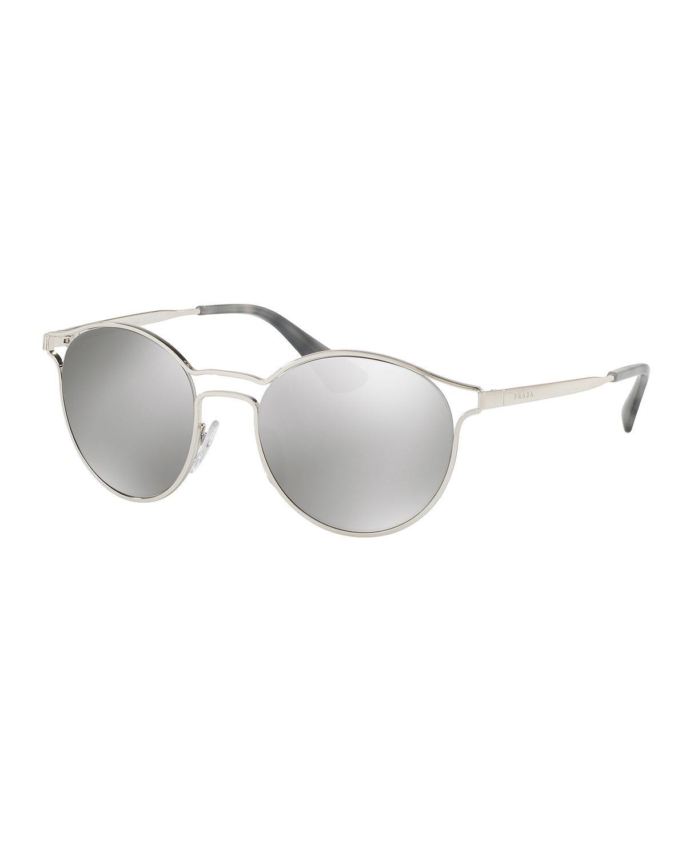 9902a787a Prada Round Metal Open-inset Sunglasses in Metallic - Lyst