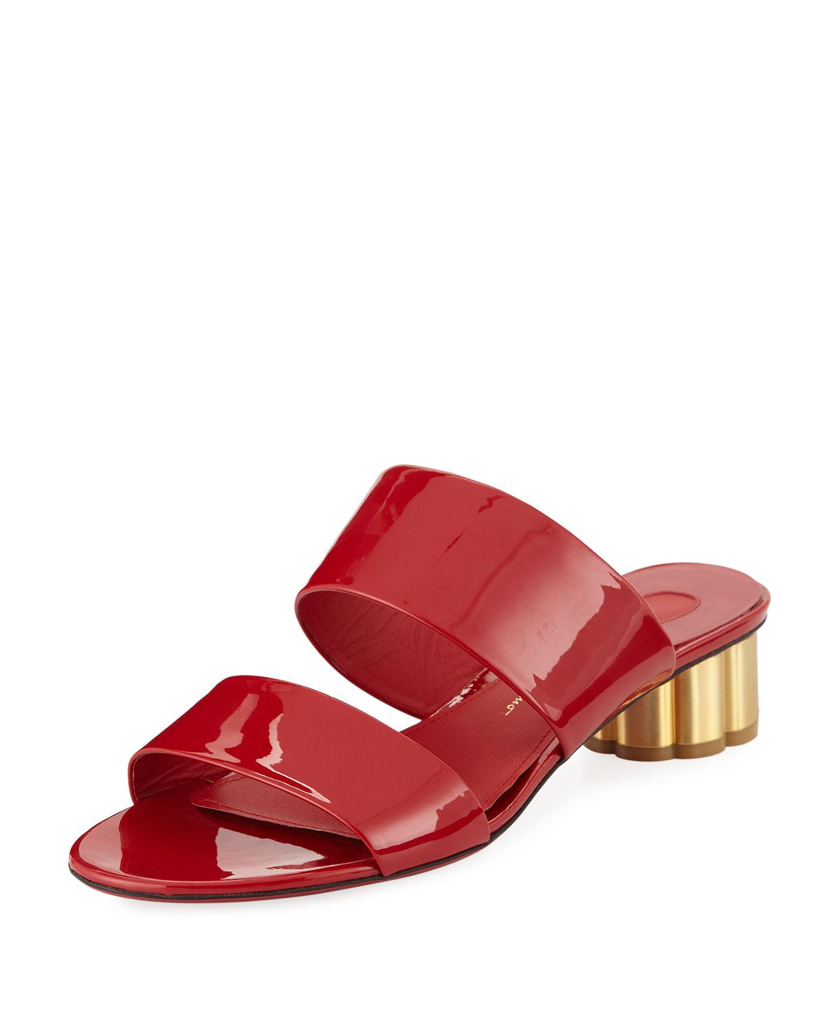 4afcf929f4bb Ferragamo. Women s Red Belluno Two-band Patent Slide Sandals With Flower  Heel