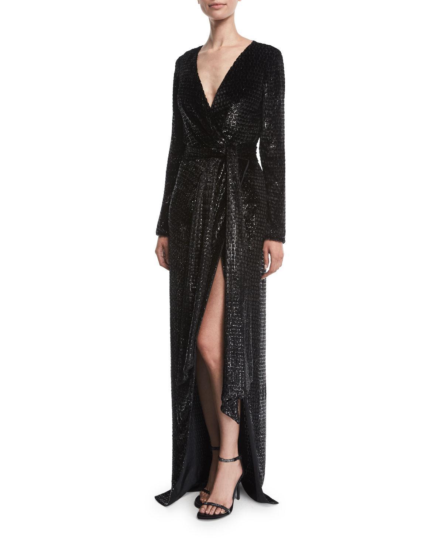 8c89a31bd2cd6 Lyst - Brandon Maxwell Women s Lurex Faux Wrap Metallic Gown - Black ...