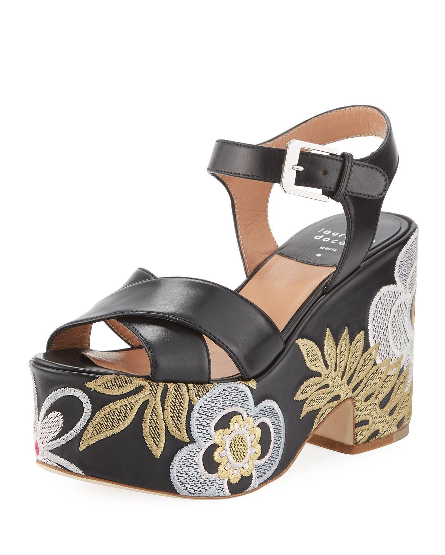 Laurence Dacade Helissa Star Studded Platform Sandals, Black