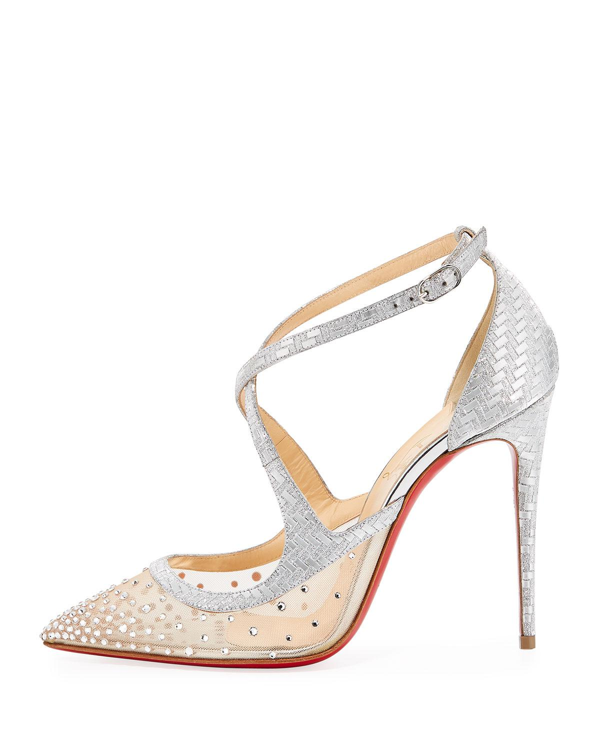 f4eff61c34b Lyst - Christian Louboutin Twistissima Strass Strappy Red Sole Pumps