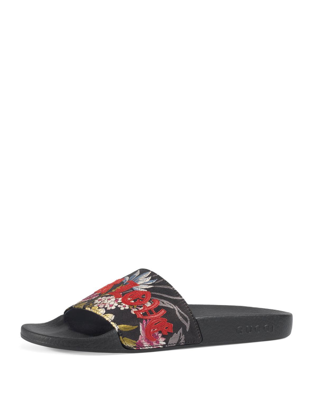 acba68fe454 Lyst - Gucci Blind For Love Slide Sandals in Black