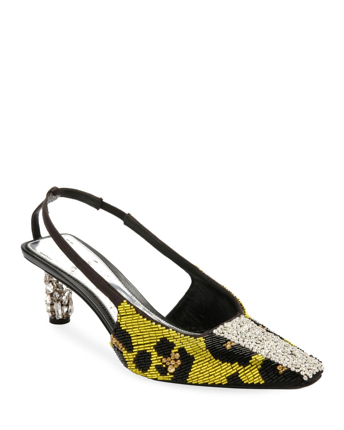 7c0a57f2a987 Lyst - Tom Ford Leopard-beaded Slingback Pumps in Black