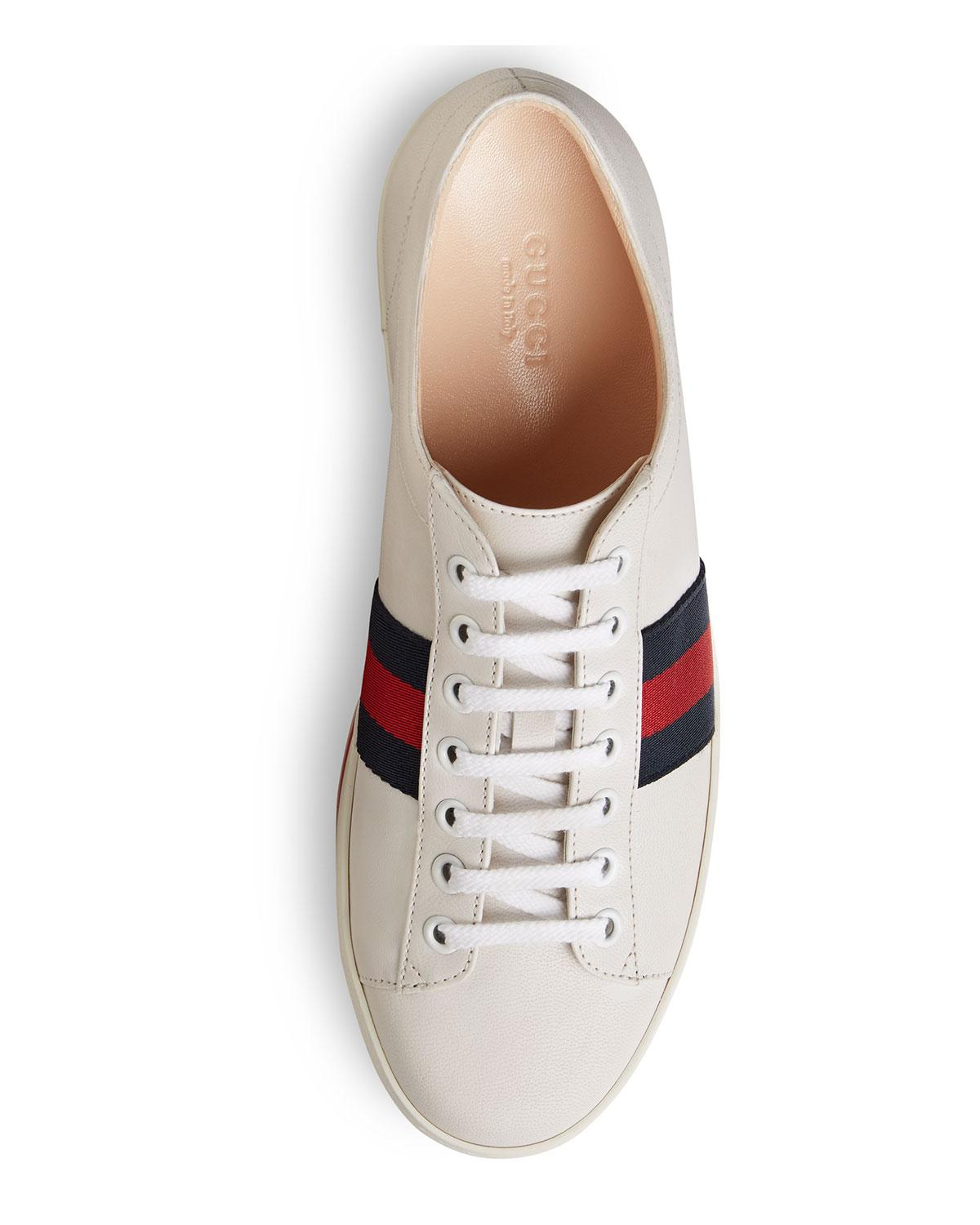 7bff720b324 Gucci - White Peggy Striped Platform Sneakers - Lyst. View fullscreen
