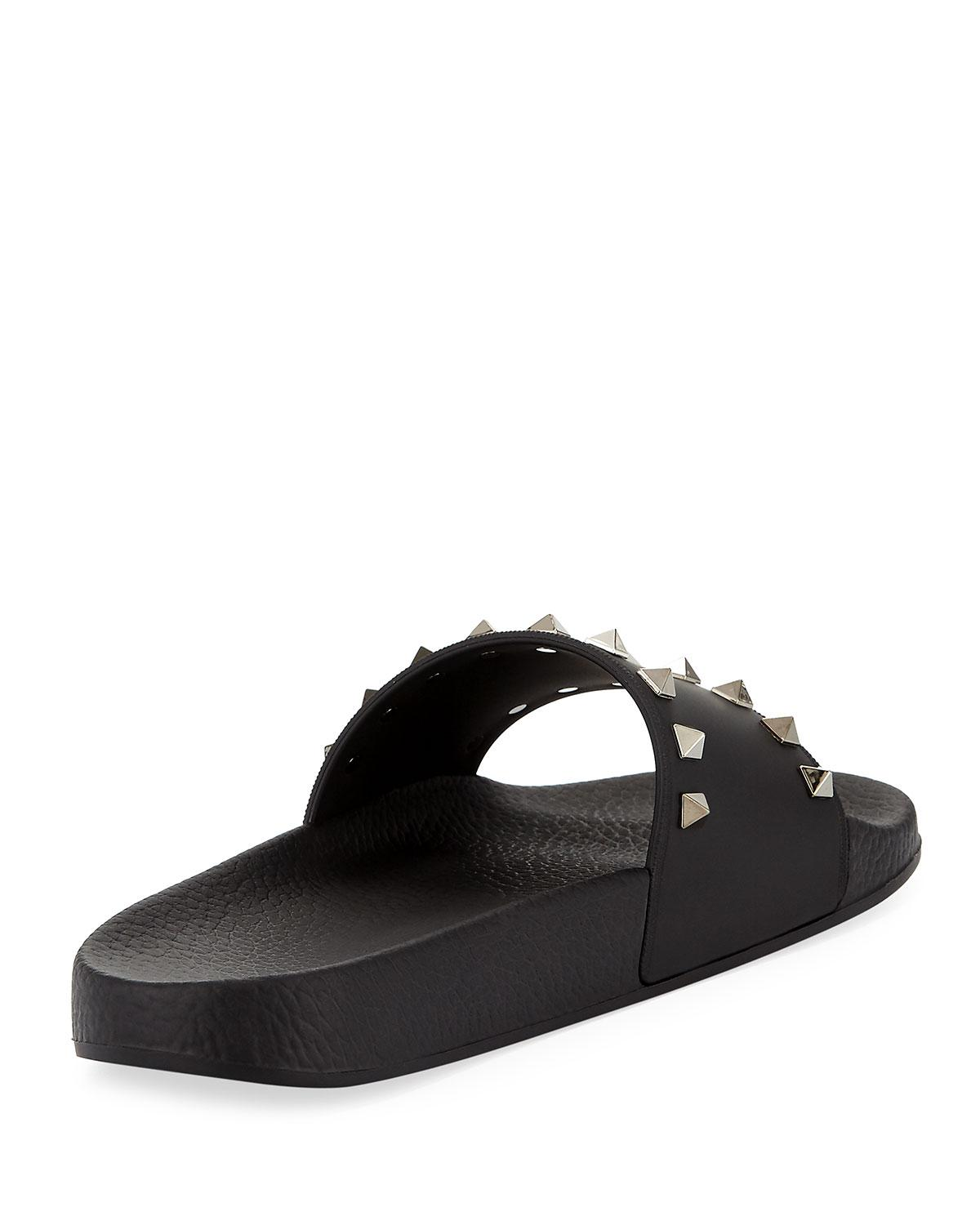 Valentino Black Slider Sandals official site for sale under $60 online 8rgit6