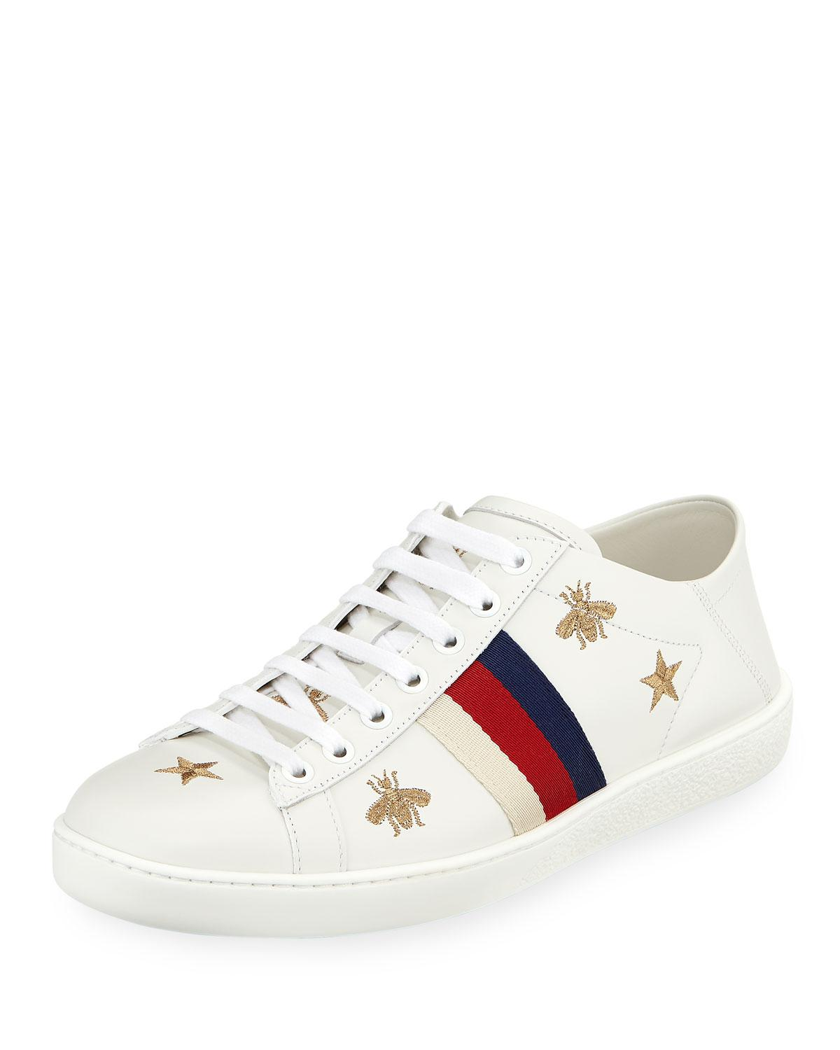 409037f2304 Lyst gucci ace star bee fold down sneakers in white jpg 1200x1500 Gucci bee  sneakers