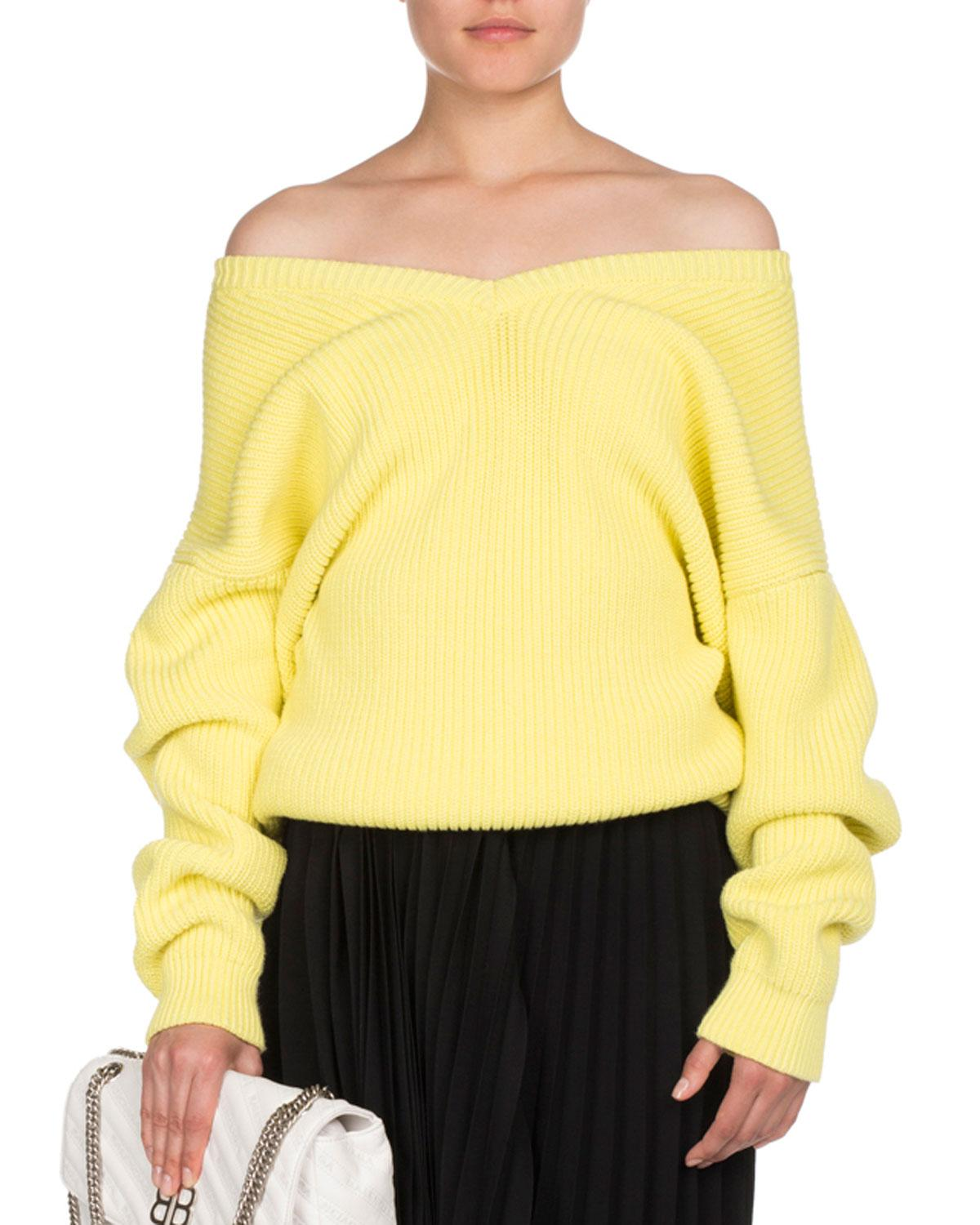 Balenciaga Ribbed Knit Off-shoulder Sweater in Yellow | Lyst