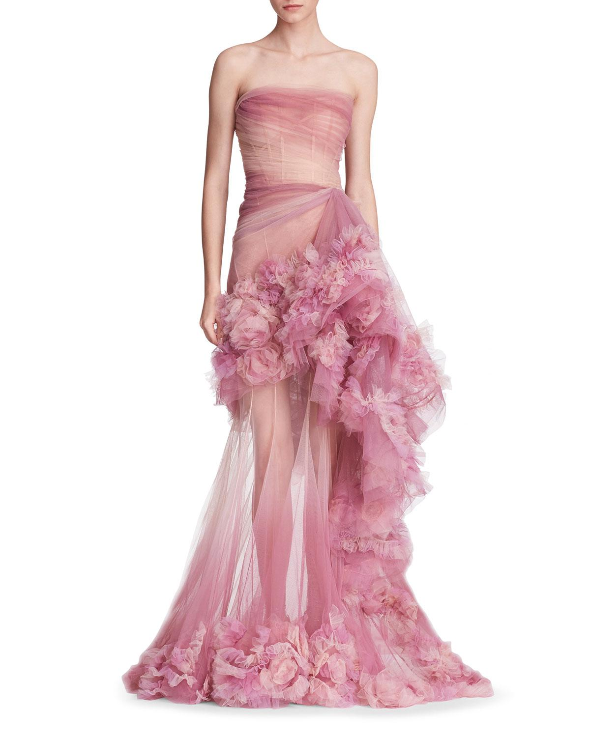 88e8ba31 Marchesa Strapless Ombre Tulle Peplum Gown in Pink - Lyst