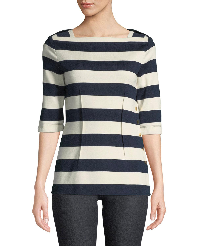 70d023a93fd9f Lyst - Derek Lam 3 4-sleeve Striped Cotton Top W  Golden Snaps in Blue