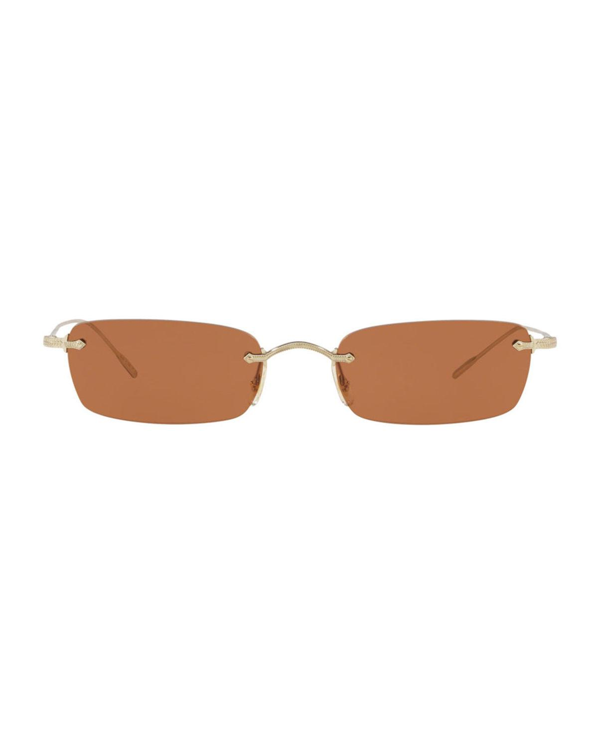 a71aa0e9f5 Lyst - Oliver Peoples Daveigh Rimless Rectangle Metal Sunglasses in Brown