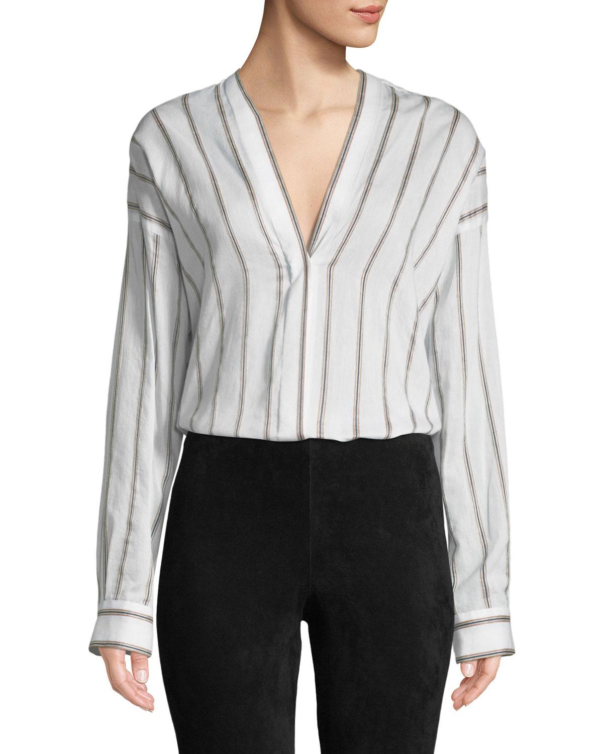 8c0c490dcba8c Lyst - Vince Textured Striped Long-sleeve Blouse in White - Save 18%