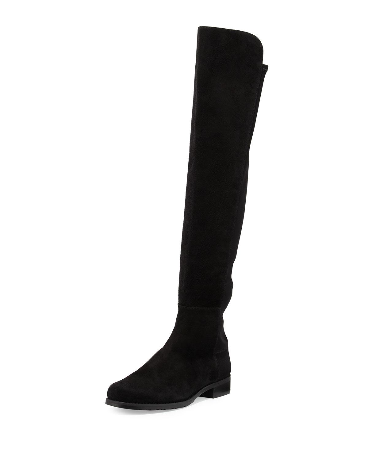 d681007b0423 Lyst - Stuart Weitzman 50 50 Suede Stretch Over-the-knee Boots in Black