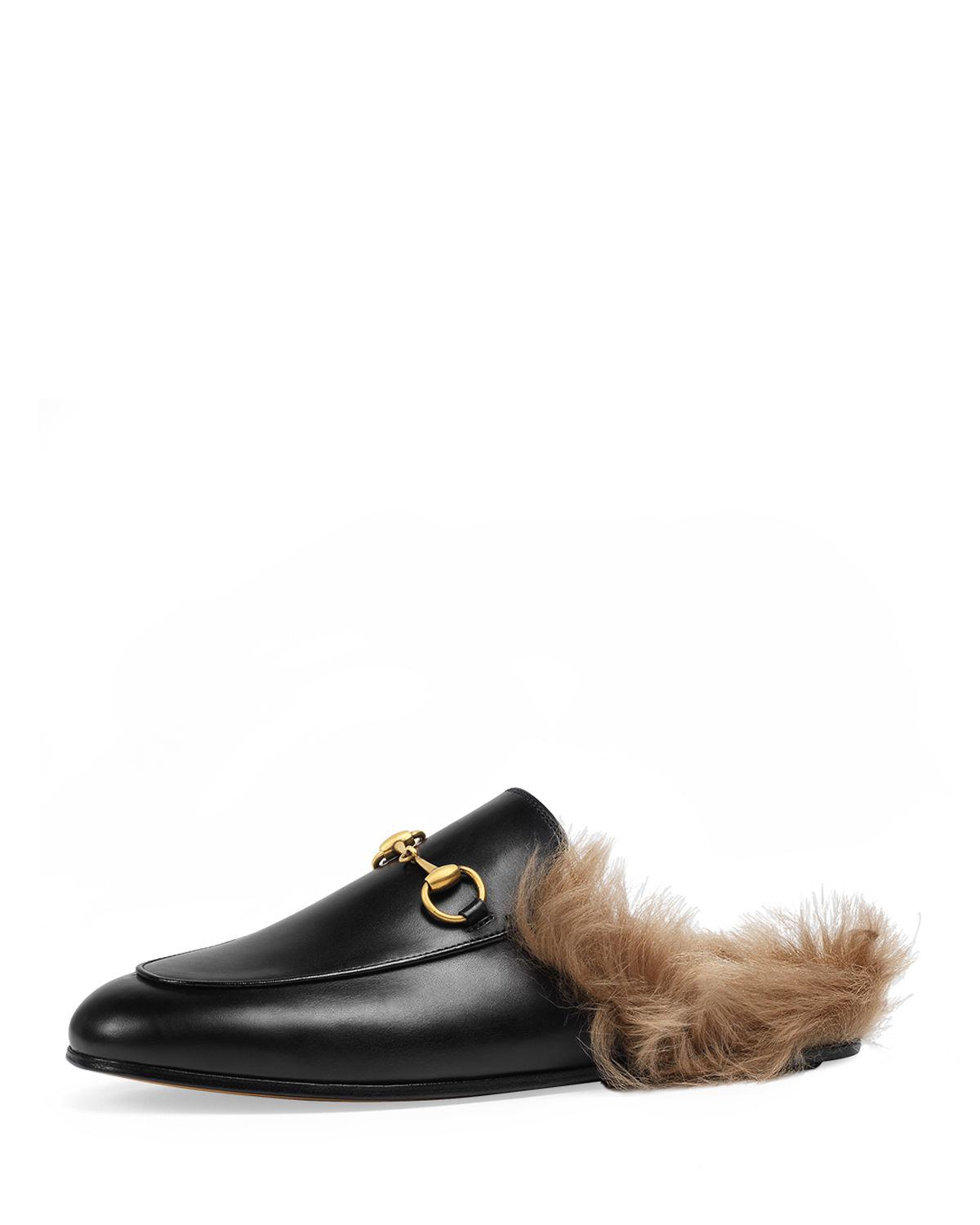 fd24e27abe6 Lyst - Gucci Princetown Fur-lined Leather Mule in Black
