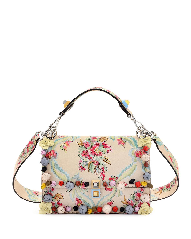 Lyst - Fendi Kan I Floral Leather Shoulder Bag - Save 6% dcc494d13b823