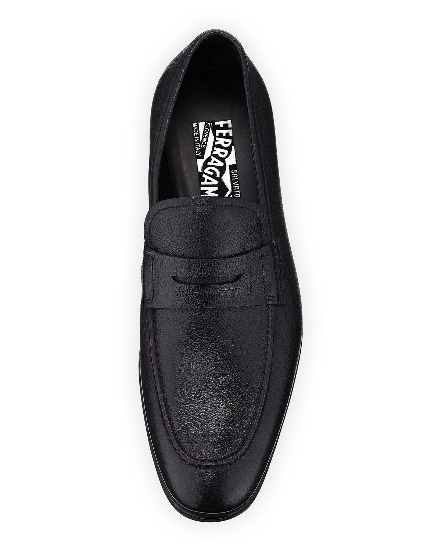 e0d57e74d3b Lyst - Ferragamo Men s Textured Calfskin Penny Loafer in Black for Men
