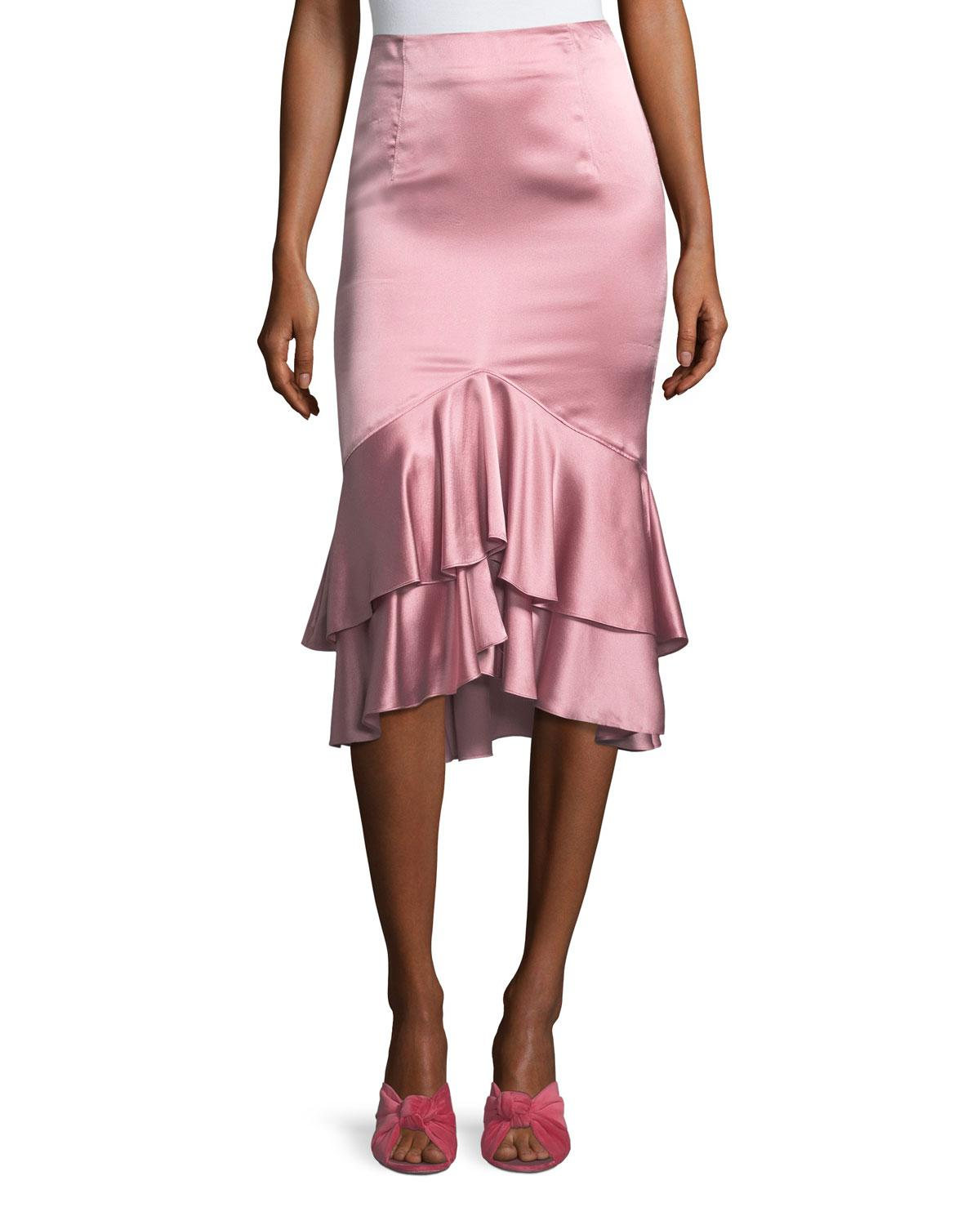 Cinq À Sept Anissa Fitted Satin Midi Skirt With Ruffled ...