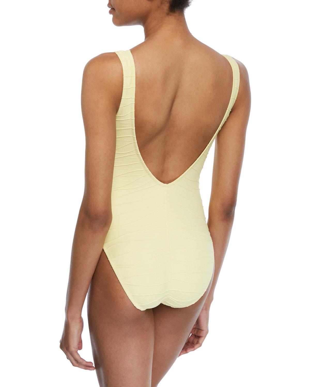 9ec558ac3aa9c Letarte - Yellow Lace-up One-piece Swimsuit - Lyst