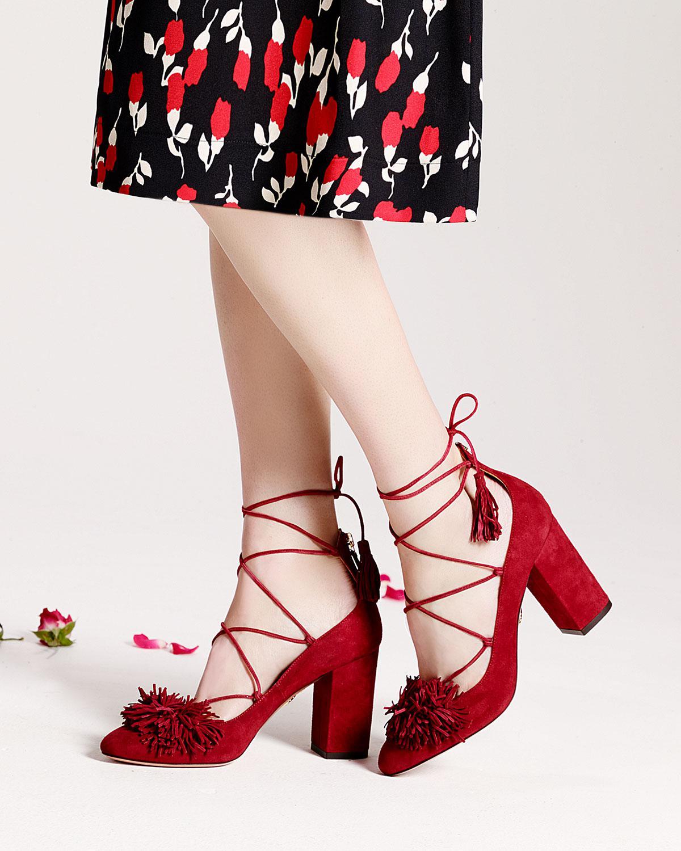 fd63716d88f Lyst - Aquazzura Wild Thing Fringed Suede Block-heel Pump in Red