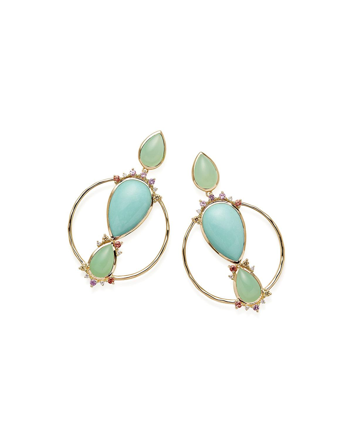 Ippolita 18k Prisma Three-Stone Hoop Earrings in Portofino vGD7GYvVvL