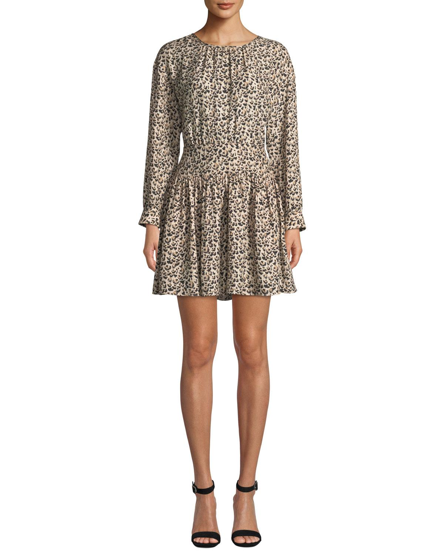 ff4b2ae23dd Lyst - Rebecca Taylor Long-sleeve Silk Leopard-print Short Dress ...