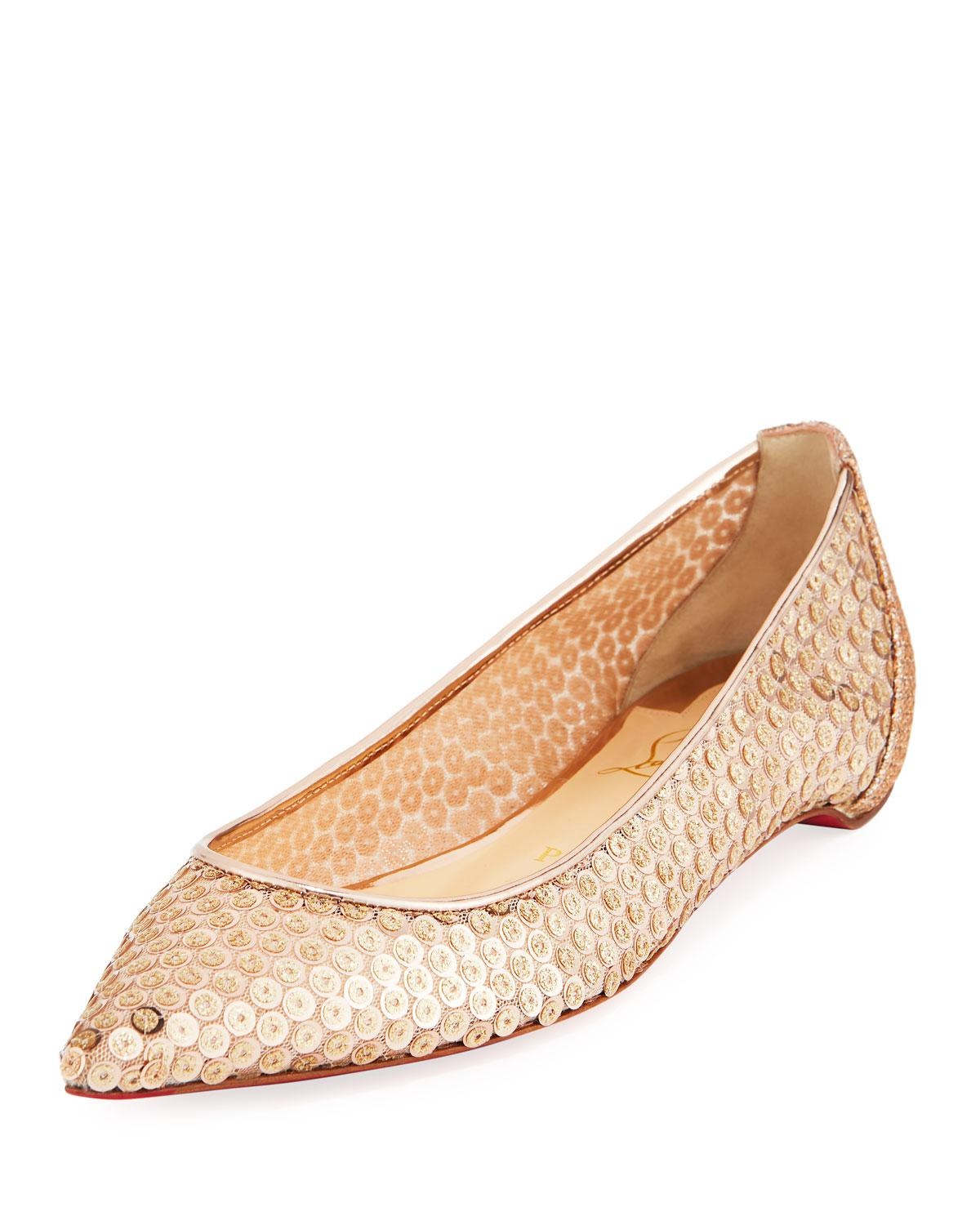 77c26dbfd3 Lyst - Christian Louboutin Lace Sequined Red Sole Ballet Flats in ...
