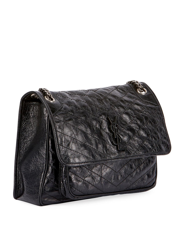 e55bdcd487 Saint Laurent Niki Medium Monogram Shiny Waxy Quilted Shoulder Bag ...