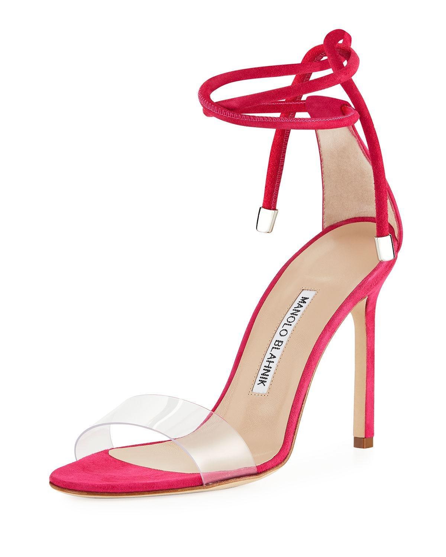 284443b2ec705 Manolo Blahnik Estro Leather & Pvc Ankle-wrap Sandal - Lyst