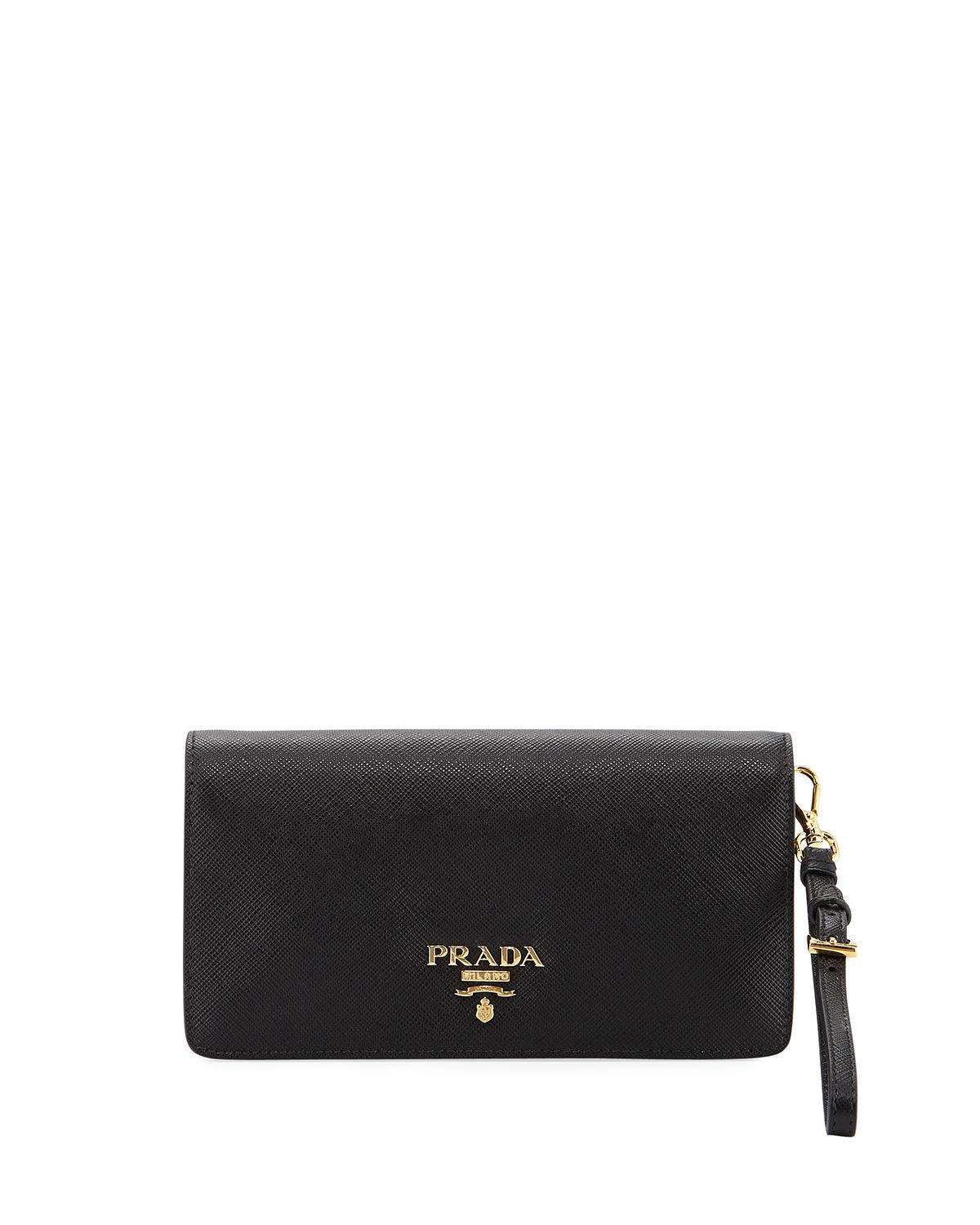 8a61bfbef8ec ... best price prada black saffiano mini flap tech crossbody bag lyst. view  fullscreen 12210 2c251