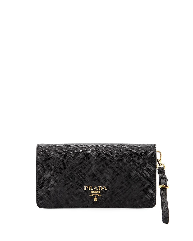 7c18cdcc5f3a ... best price prada black saffiano mini flap tech crossbody bag lyst. view  fullscreen 12210 2c251