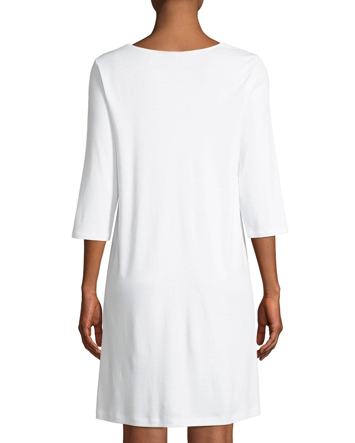 224d2cdb3b55 Lyst - Hanro Moments 3 4 Sleeve Nightgown in White