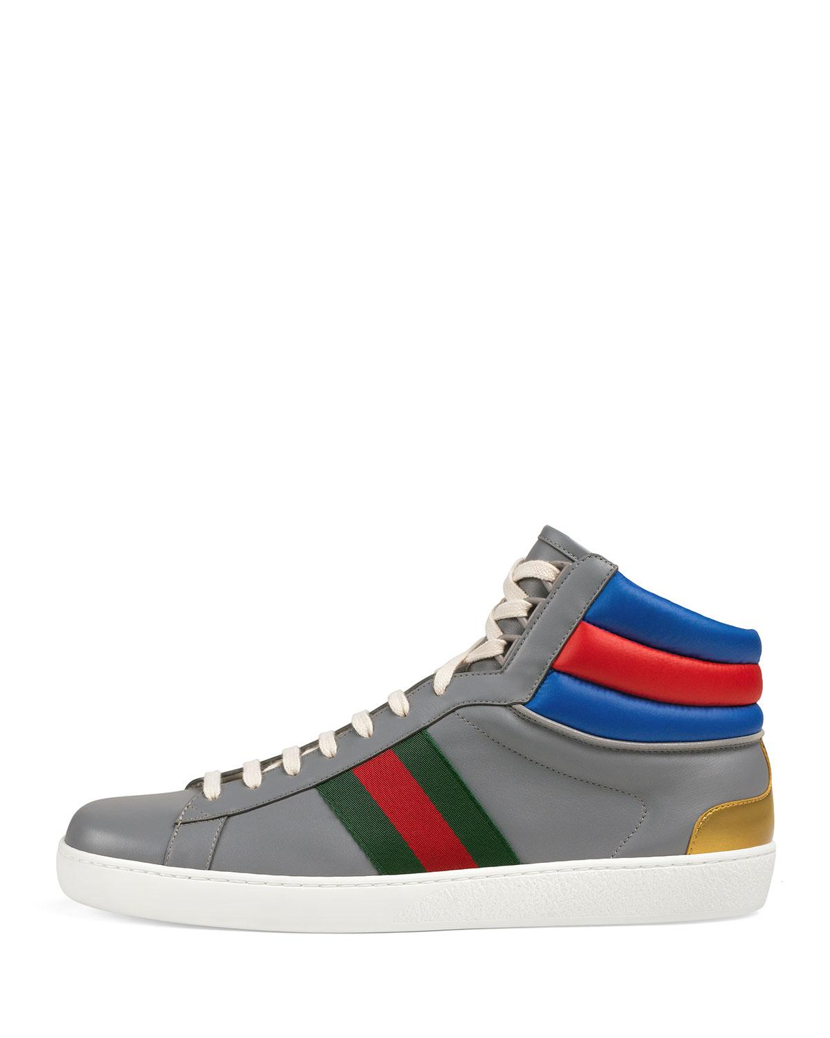 587dd17db1f Lyst - Gucci Men s Ace Colorblock Leather High-top Sneakers in Gray for Men