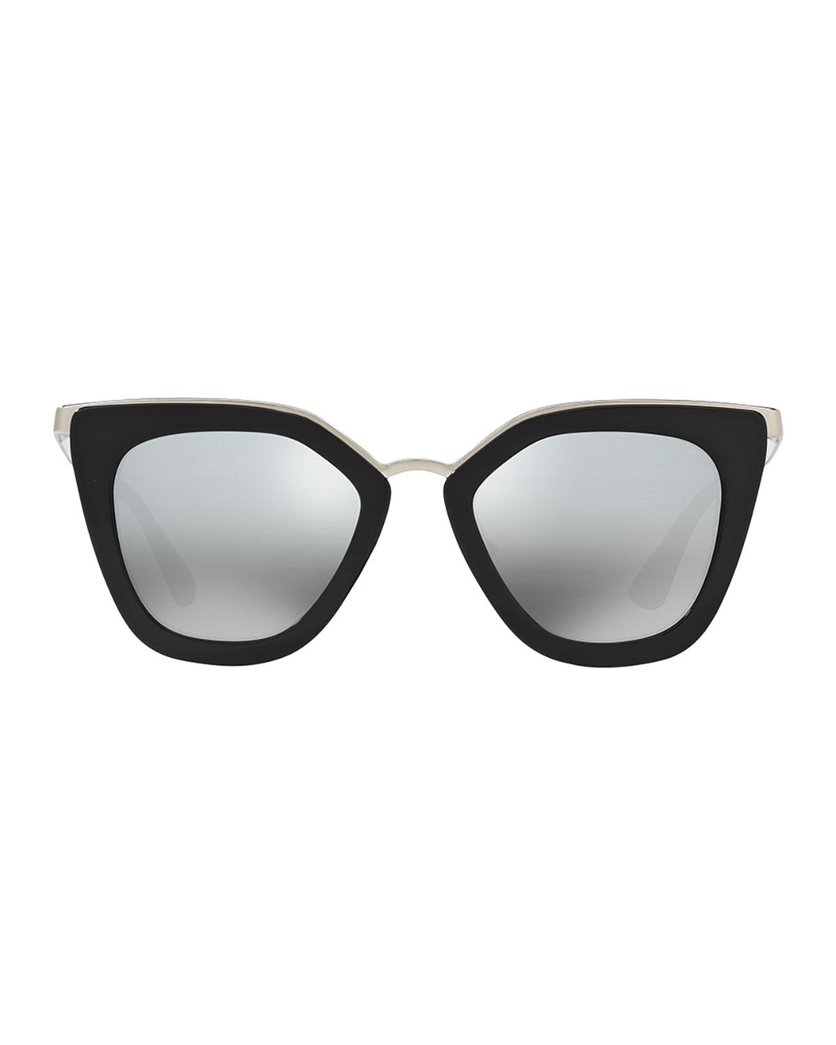 0518ba0f353f ... cheapest lyst prada mirrored square cat eye sunglasses in black 47920  52ddc