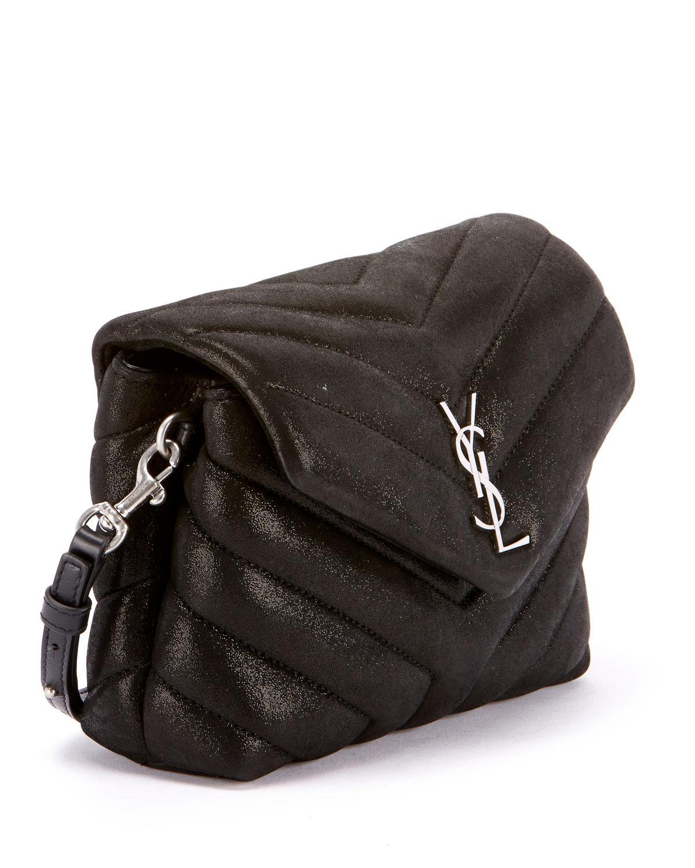 9744c027d8 Lyst - Saint Laurent Loulou Monogram Ysl Mini V-flap Calf Suede-effect  Wallet On Chain in Black