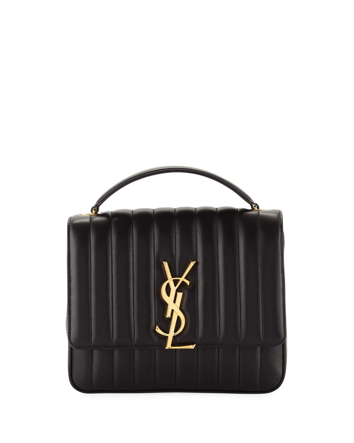 1b92bf5027 Saint Laurent. Women s Black Vicky Monogram Ysl Large Quilted Leather Chain  Crossbody Bag