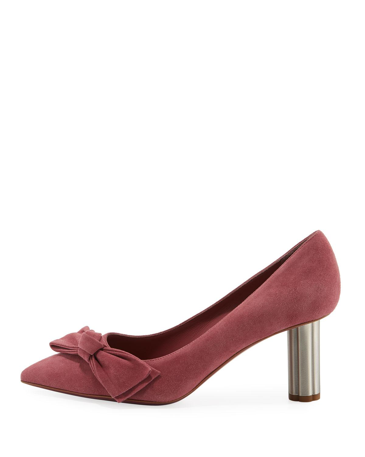 0016c8b2adb Lyst - Ferragamo Suede 70mm Pumps With Bow in Pink