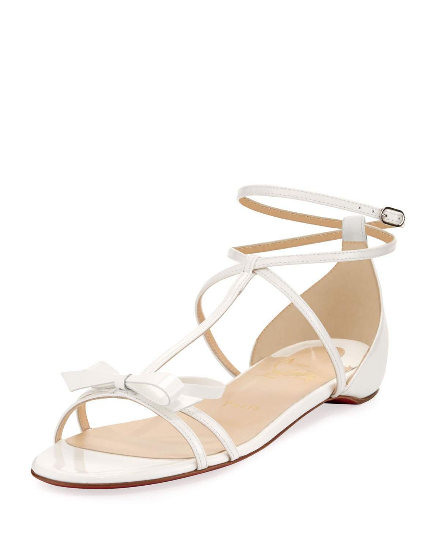 c68ad1c5c77b Lyst - Christian Louboutin Blakissima Patent Bow Flat Red Sole Sandal