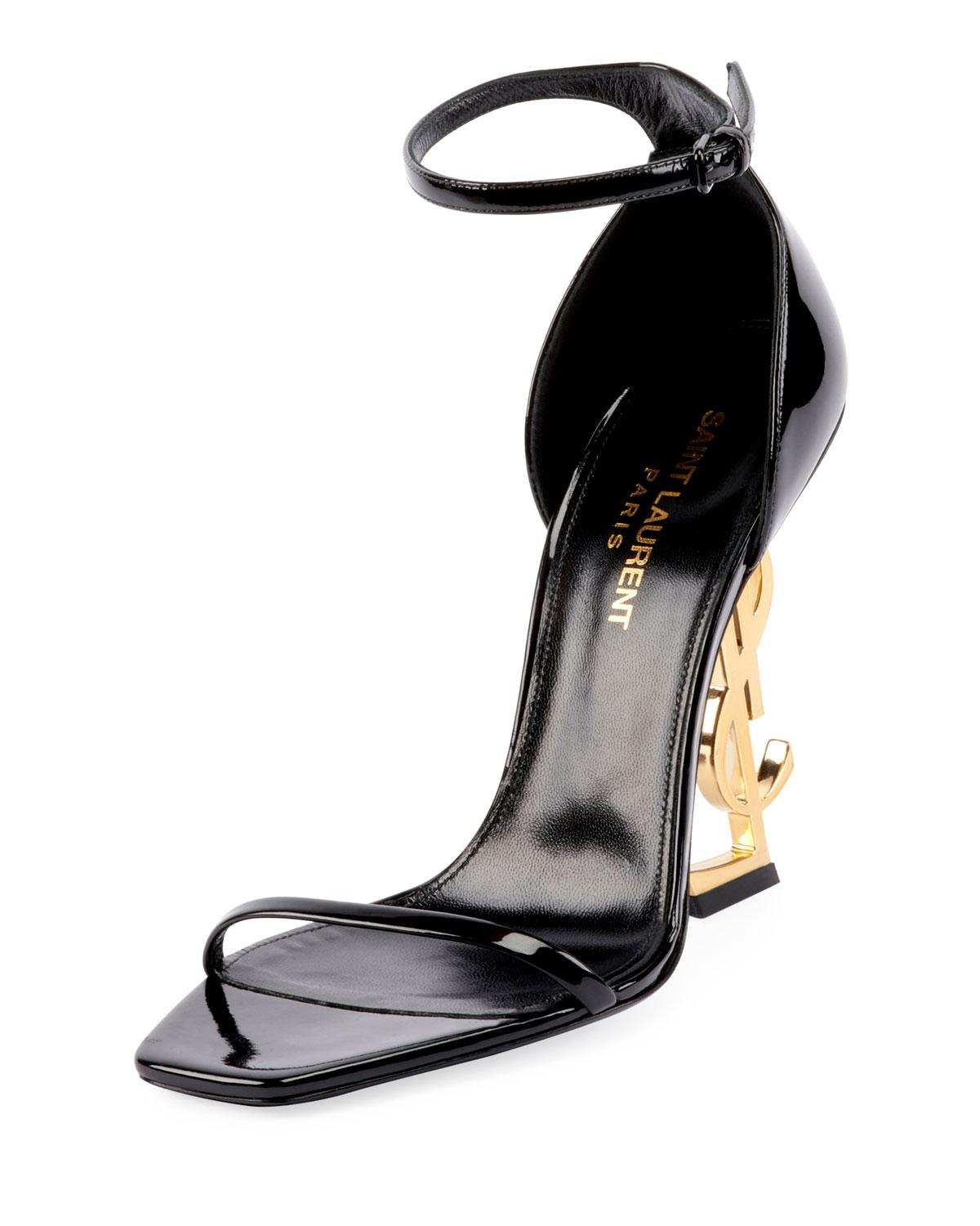 0ad0789a1154 Lyst - Saint Laurent Opyum Ysl Logo-heel Sandals With Golden ...