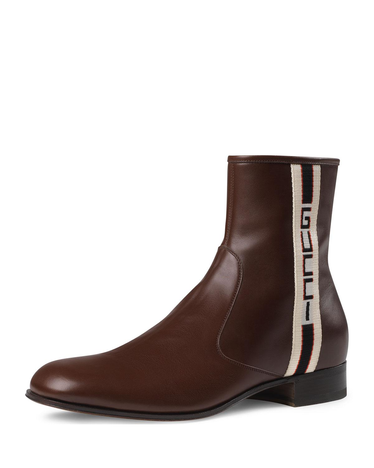 1e8ff6595fd Gucci Stripe Leather Boot in Brown for Men - Lyst